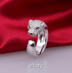 925 Sterling Silver Unisex Green Eye Panther Head Ring US All Size+Gift