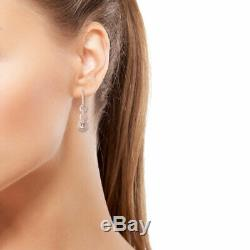 925 Sterling Silver Vermeil Rose Gold Morganite Dangle Drop Earrings Gift Ct 1.9