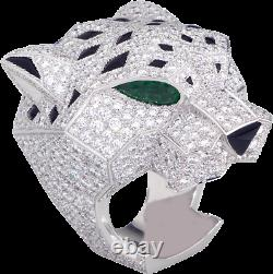 925 Sterling Silver White Round & Green Pear Cut Diamond Panther Engagement Ring