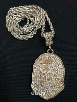 A Bathing Ape Necklace Pendant Jewelry Men Women Gift Rare Silver Chain Zirconia