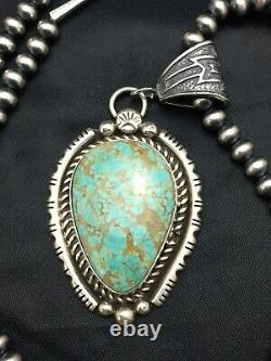 AMAZING Navajo Sterling Silver TURQUOISE#8 Necklace Pendant 2.75 8239 Gift Sale