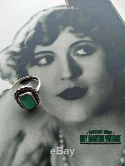ANTIQUE ART DECO 1920s STERLING SILVER CHRYSOPRASE MARCASITE RING SIZE P GIFT