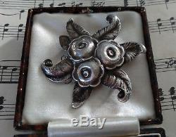 ANTIQUE ART NOUVEAU STERLING SILVER BROOCH PIN c1900 LARGE FLORAL FLOWER GIFT