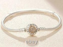 AUTHENTIC PANDORA BRACELET 2-TONE SIGNATURE With14K #590741CZ WITH GIFT 7.5 in