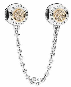 AUTHENTIC PANDORA SAFETY CHAIN 2-TONE SIGNATURE WithCZ'S 796269CZ RETIRED HING BX