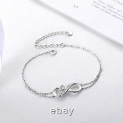 Adjustable Bracelet 925 Sterling Silver Infinity Love Heart Gifts for Women, Mom