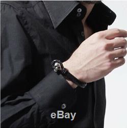 Alexander McQueen Bracelet Leather Skull 370239 J127Y 1000 Mens Womens Auth Gift