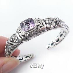 Amethyst Bracelet Solid. 925 Sterling Bali Silver Dragonfly Cuff Jewelry Gift