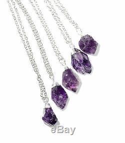 Amethyst Healing Crystal Quartz Cluster Necklace-Silver Boho-Bohemian Stone Gift