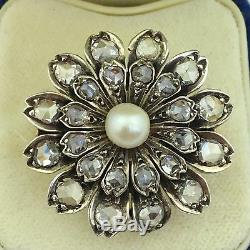 Antique 925 Sterling Silver Pearl ring and Rose cut diamonds gift