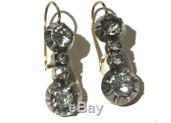 Antique 9ct Gold Silver Georgian / Victorian Paste Drop Earrings GIFT BOXED