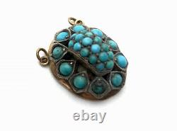 Antique 9ct Rose Gold Silver Turquoise Pendant 10.1g GIFT BOXED