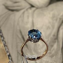 Antique Art Deco 9ct Gold Silver Paste Sapphire Aquamarine Ring UK L1/2, US 5-6