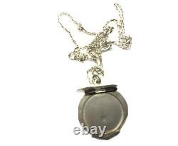 Antique Art Deco Geometric Silver Flat Picture Locket Chain Necklace GIFT BOXED
