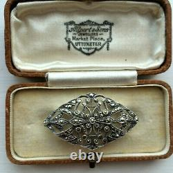 Antique Art Nouveau French Fine Sterling Silver Marcasite Brooch Pin Bridal Gift