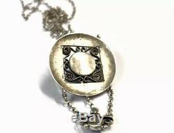 Antique Beaten Silver Purple Quartz ARTS & CRAFTS Pendant Necklace GIFT BOXED