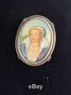 Antique Cameo Lady Brooch -pendant Italian Silver 800 Hand Painted Gift