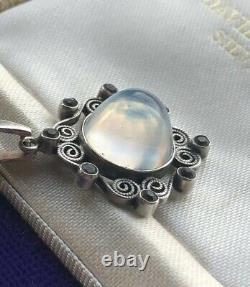 Antique Edwardian Silver Moonstone Paste Pendant and Chain Gift Wrapped Gorgeous