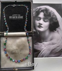 Antique Edwardian Silver Tutti Frutti Paste Open Back Riviere Necklace Gift