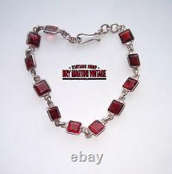 Antique Edwardian Sterling Silver Table Cut Garnet Riviere Bracelet Bridal Gift