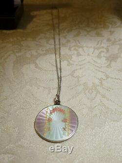 Antique Guilloche Enamel Pendant Necklace 925 Silver Chain Double Sided Gift Box