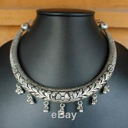 Antique Old Silver Hasli Necklace Cuff Wedding Ethnic Tribal Women Gift Jewelry