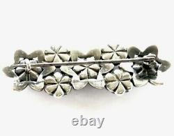 Antique Victorian Glittery Silver Daisy Flower Paste Brooch 50x18mm GIFT BOXED