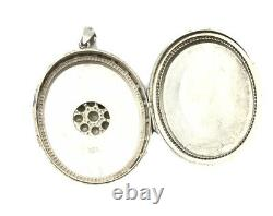 Antique Victorian HALLMARKED 1876 Large Silver Ornate Locket Pendant GIFT BOXED
