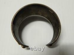 Antique / Vintage Mexican Sterling Silver Cuff Bracelet Deco Old Xlnt Gift