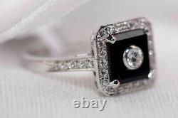 Antique Vintage Style Black Onyx Square Ring in 925 Sterling Silver Gift For her