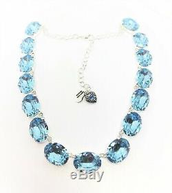 Aquamarine Blue Crystal Silver Necklace Georgian Collet Statement Gift Boxed