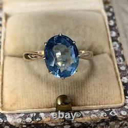 Art Deco 9ct Gold & Silver Paste Sapphire Ring, Antique Solitaire UK L1/2 US5-6