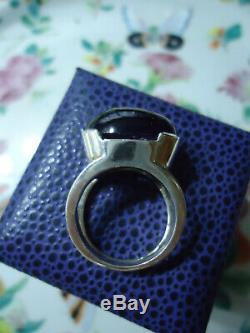 Astonishing 1970s Huge Amethyst Cabochon Solid Silver Ring N N1/2 Mint Gift Co