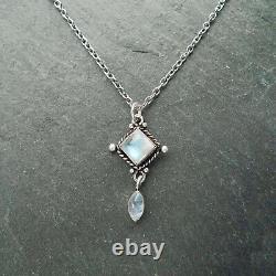 Aurora Moonstone Crystal Silver Necklace, Gemstone, Quartz, Boho Jewelry, Gift