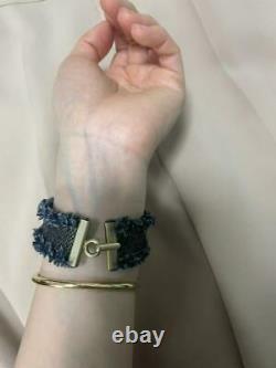 Auth Vintage CHANEL Silver Letter Denim Bangle Bracelet Used gift