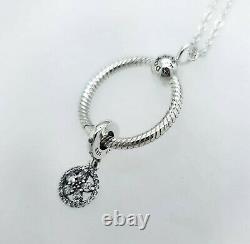 Authentic 100% Pandora O Sparkling Snowflake Gift Set Necklace + charms B801429