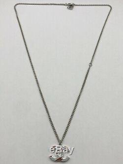 Authentic CHANEL Silver Tone Chain Necklace Enamel CC Logo Pendant Gift Set