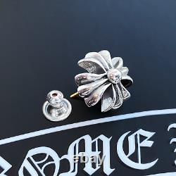 Authentic Chrome Hearts Large CH+ Earring Stud + Pouch & Gift Bag
