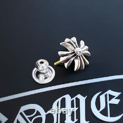 Authentic Chrome Hearts Small CH+ Cut Out Earring Stud + Pouch & Gift Bag