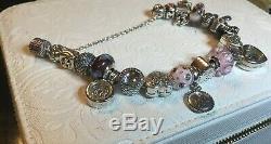 Authentic Full Pandora Charm Bracelet 7.5 (Free Pandora Jewelry Box)