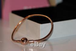 Authentic New Pandora Rose Smooth Clasp Bracelet 580728 Choose Size Gift Box