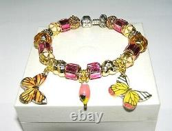 Authentic PANDORA Bracelet Silver With BUTTERFLY, BIRD GOLD PINK European Charms