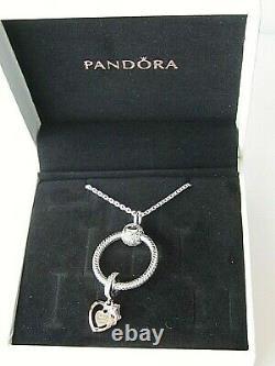 Authentic Pandora #B801507-60 Heart & Rose Flower O Pendant Necklace Gift Set
