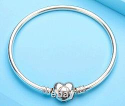Authentic Pandora Bangle Bracelet Heart Clasp #596268 Love Gift
