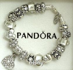 Authentic Pandora Charm Bracelet with Heart Love Gift Flower European Charms 8.3