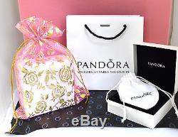 Authentic Pandora Rose Gold Bracelet Euro Charms Micro Pave Pandora Gift Set