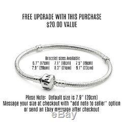 Authentic Pandora Silver Bracelet Disney Mickey White European Charms NIB Gift