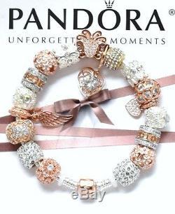 Authentic Pandora Silver Rose Gold Clasp Charm Bracelet Euro Charms Micro Pave