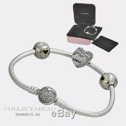 Authentic Pandora Silver Tribute to Mom 7.5 Bracelet Gift Set B800515 SPECIAL