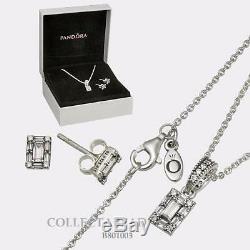 Authentic Pandora Sterling Silver Luminous Ice CZ Jewelry Gift Set B801003